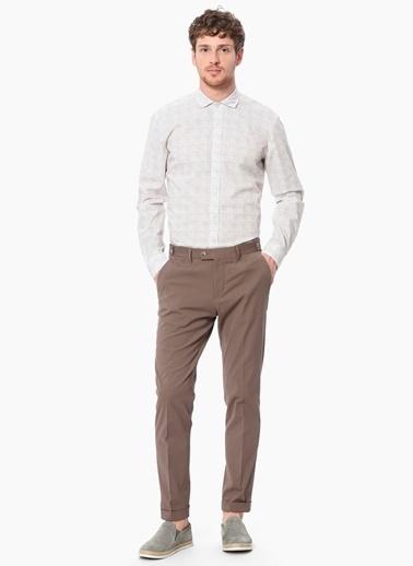NetWork Slim Fit Uzun Kollu Kareli Gömlek Beyaz